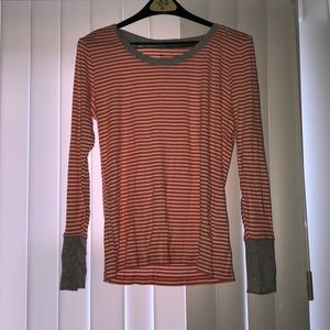 Gap Coral and White Striped Sweater - Size Large